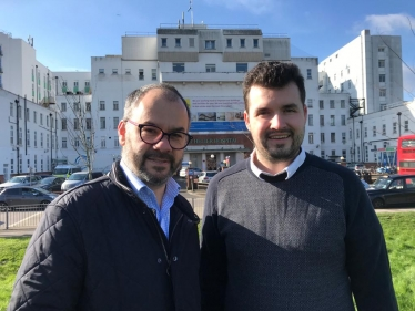 Paul Scully MP and Elliot Colburn MP outside St Helier Hospital